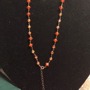 Orange and Copper Wire Wrapped necklace